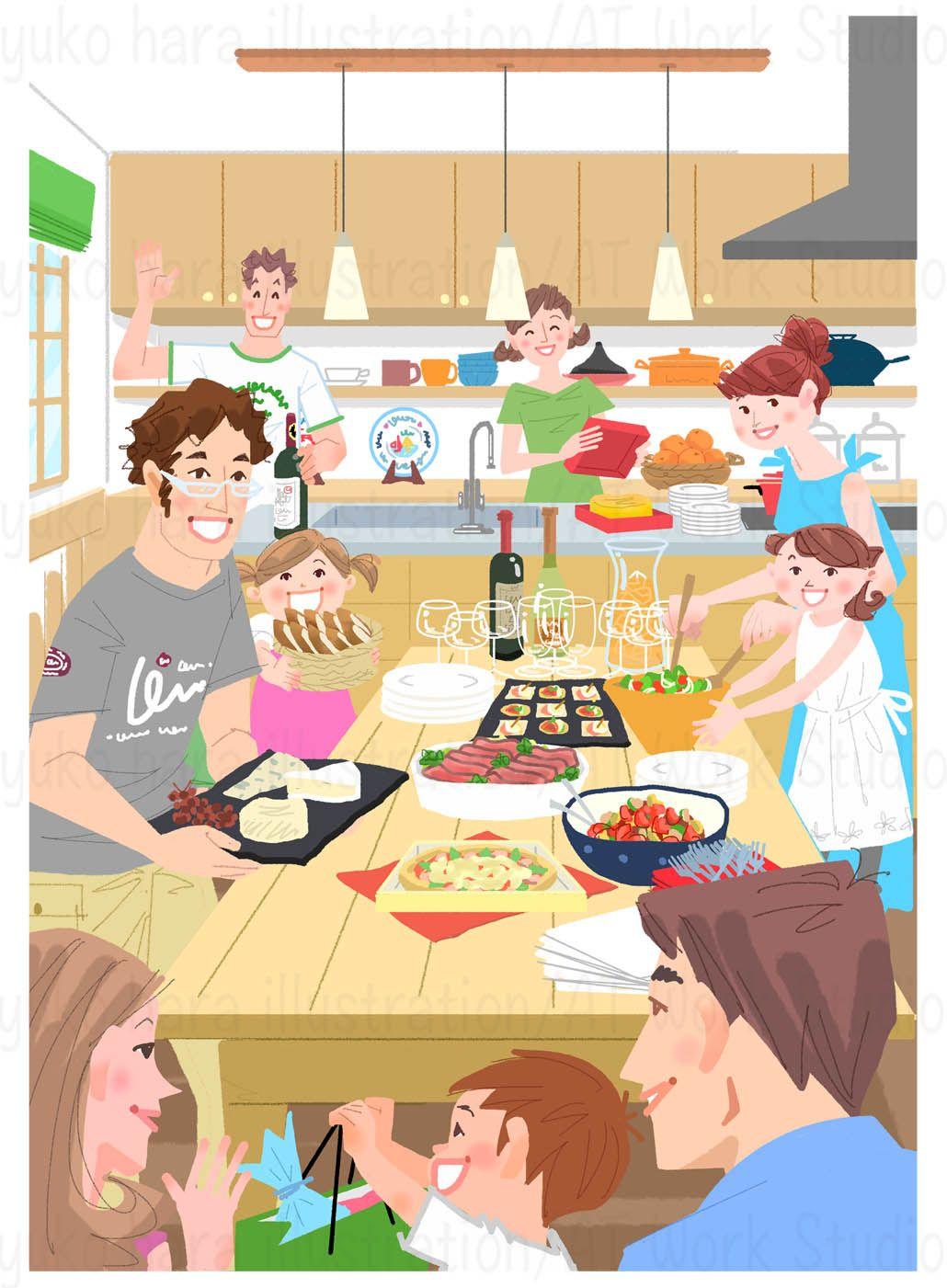 はらゆうこによるホームパーティの情景を描いたイラスト