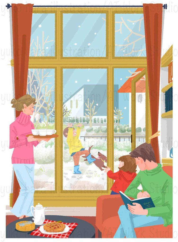 はらゆうこの描く家族の冬の休のイラスト日