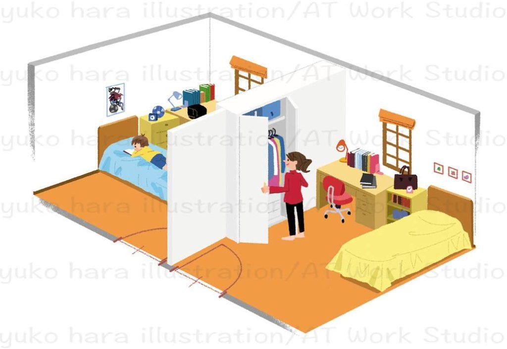 はらゆうこが描く子供部屋をパース風に描いたイラスト