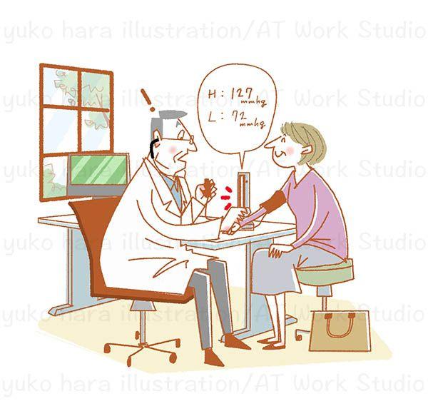 血圧を測るお医者さんのイラスト作品