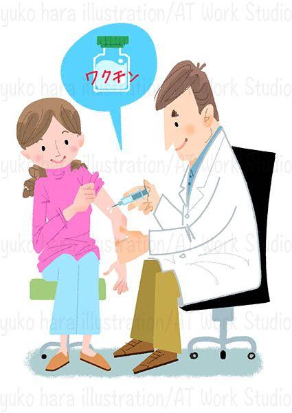 ワクチン接種をする女性とドクターのイラスト作品