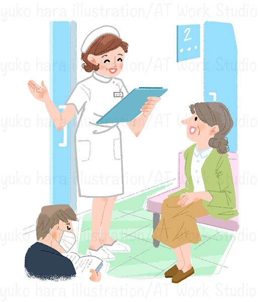 病院での待合室を描いたイラストレーション