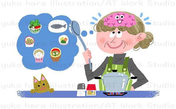 脳の働きに良い食事のレシピを描いたイラストレーション