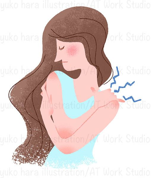 肩こりの女性を描いたイラスト作品