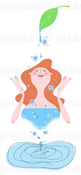 潤いのある肌の女性を描いたイメージイラスト