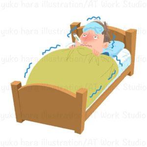 高熱で寝込んでいる男性のイラスト