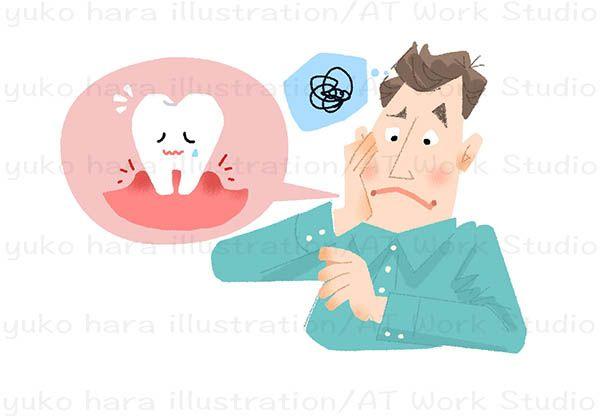 虫歯が痛む男性を描いたイラストレーション