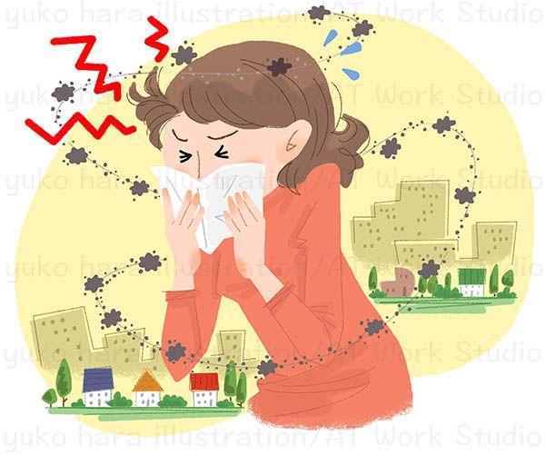 花粉症の女性を描いたイラスト作品