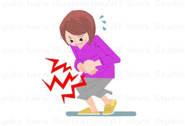 腹痛の女性を描いたイラストレーション