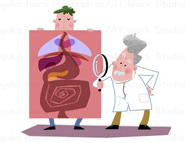 病院での画像診断を描いたイラストレーション