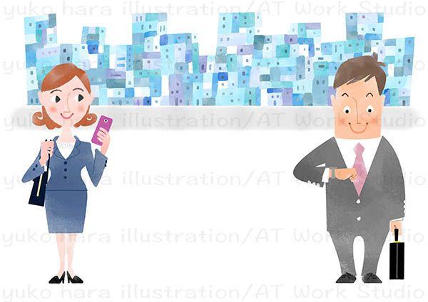 青いビル群と男女のビジネスパーソンを描いたイラスト