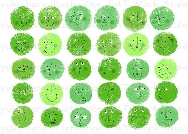 緑色の色々なの表情の顔のイメージイラスト