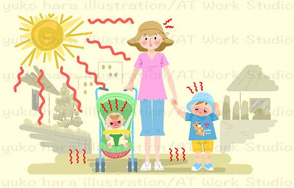 子供の熱中症に注意を促すイラスト
