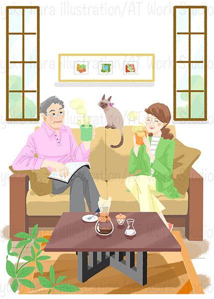 熟年夫婦のティータイムのイラスト
