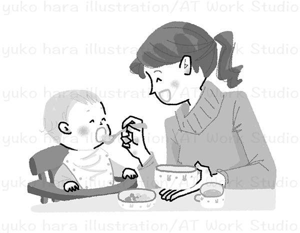 赤ちゃんに食事をさせるママのイラスト