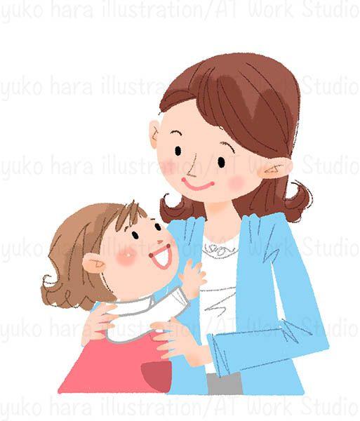 ママと幼い女の子のイラスト