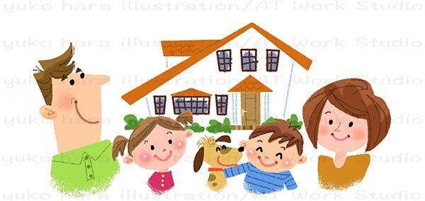家族4人と犬と家のイラスト