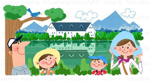 湖畔のホテルと夏休みの家族のイラスト