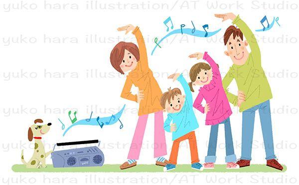 ラジオ体操をする4人家族のイラスト