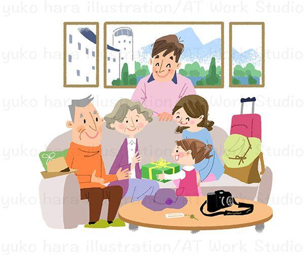 3世代で旅行する家族のイラスト