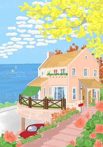 秋の海辺に建つ住宅の外観のイラスト