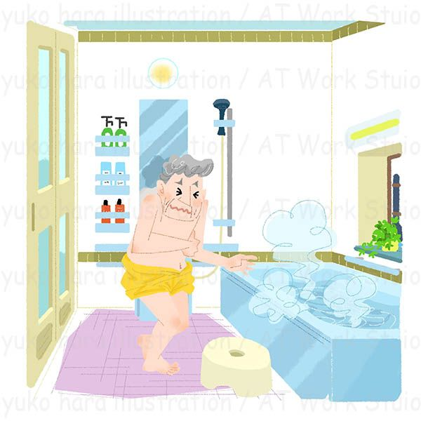 冬のひんやりした浴室で震える男性のイラスト