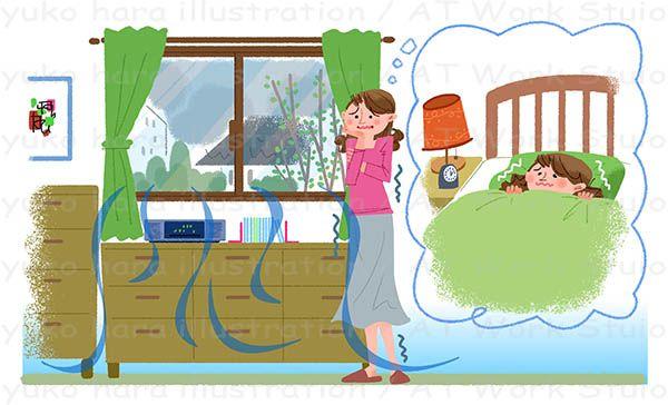 窓からの冷気と不眠に悩む女性のイラスト