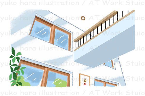 吹き抜けのリビングにある高窓のイラスト