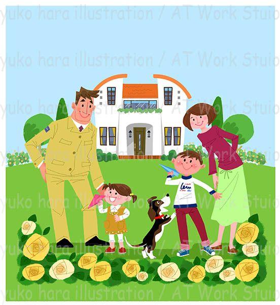 家と4人家族と犬のイラスト