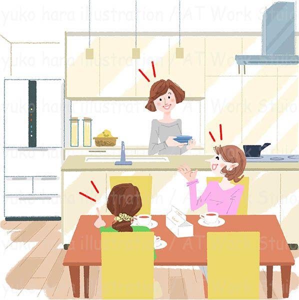 ダイニングキッチンでおしゃべりする3人の女性のイラスト