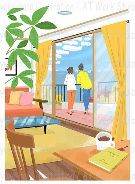 海の見えるバルコニーから海を眺めるカップルの後ろ姿のイラスト