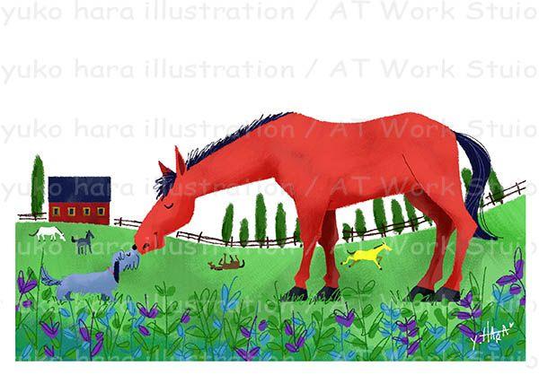 牧場の馬と犬を描いたイメージイラスト