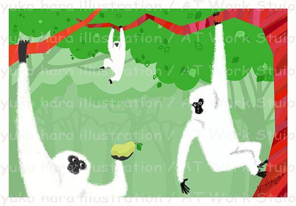 森の猿を描いたイメージイラスト