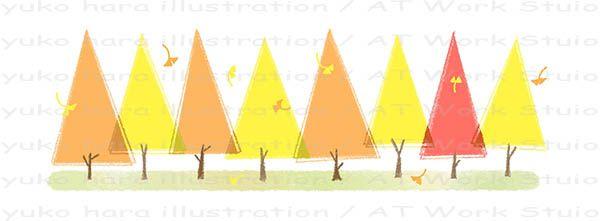 秋の銀杏並木のイメージイラスト