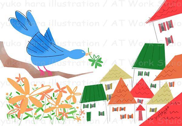 青い鳥とカラフルな屋根の家並を描いたイメージイラスト