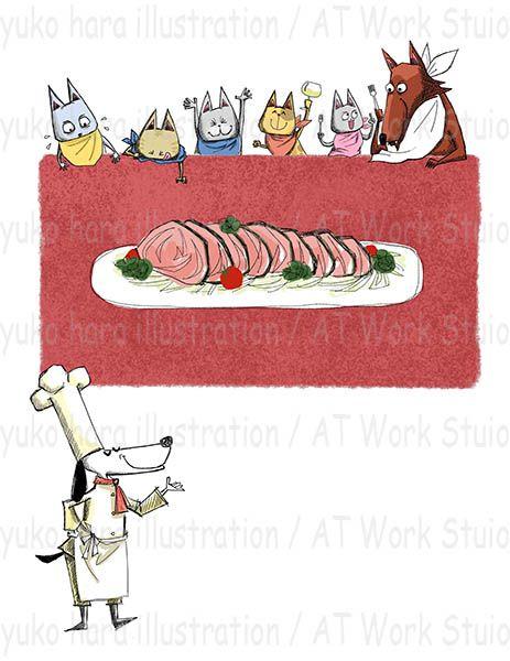 腹ペコの猫と狼と犬のシェフのイメージイラスト