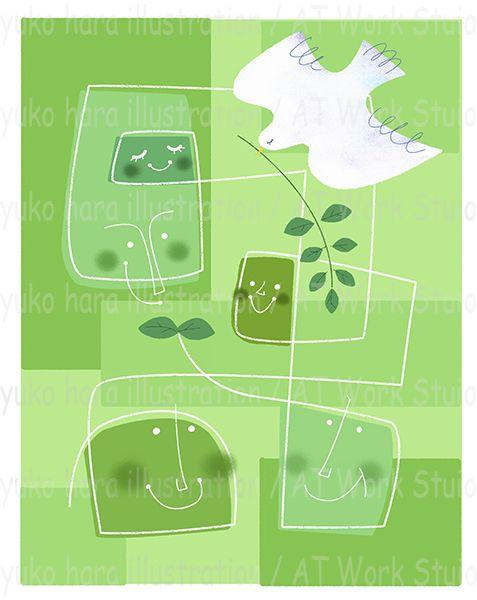 緑のエコロジーイメージの白い鳩と家族のイラスト