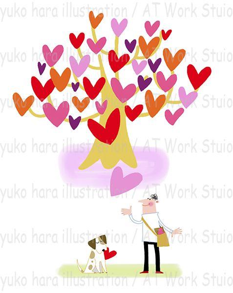 ハートのなる樹と人と犬を描いたイメージイラスト