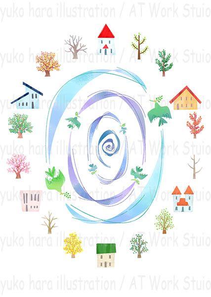 家と樹木と鳥で春夏秋冬イメージを描いたイラスト