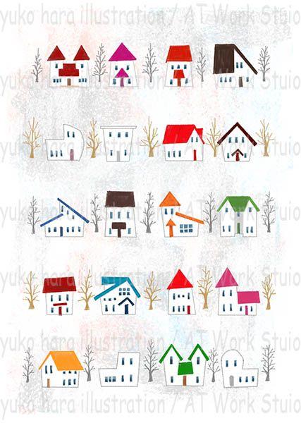 はらゆうこによる冬の家並みのイメージイラスト