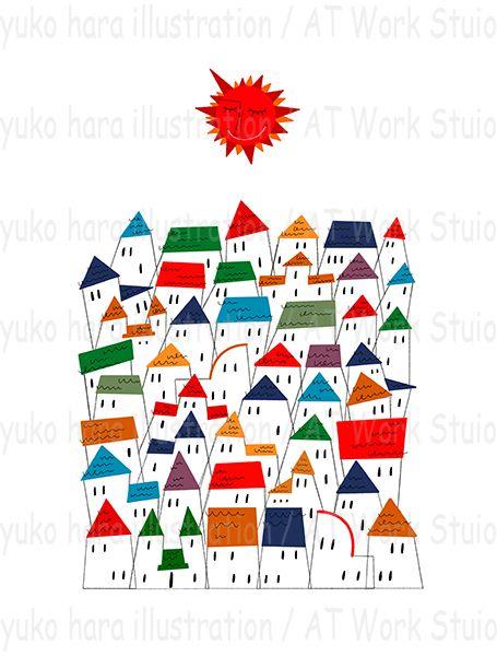 カラフルな家並と太陽のイメージイラスト