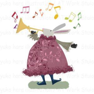 ラッパを吹いて音楽を奏でるうさぎのイメージイラスト