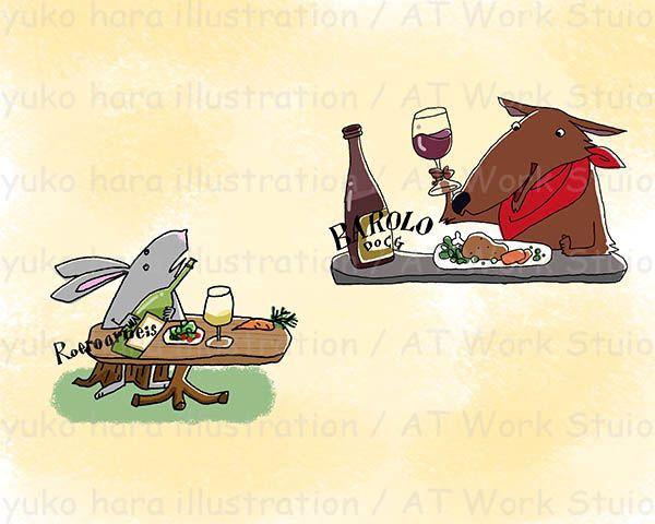 ワインで乾杯するうさぎと狼のイメージイラスト