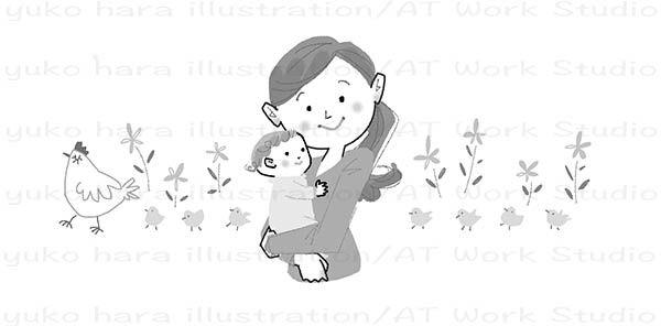 赤ちゃんを抱くママのイラスト