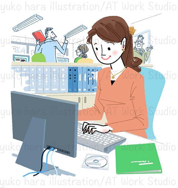 オフィスのPCでデスクワークをしている女性のイラスト