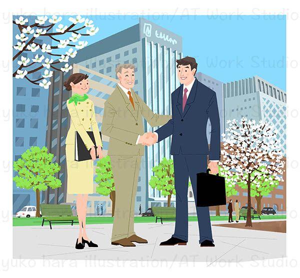 ビル街を背景に握手するビジネスマンと秘書のイラスト
