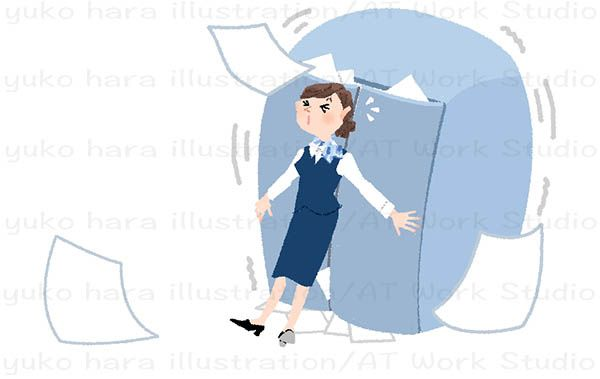 書類であふれそうなキャビネットを必死で抑える制服姿の女性のイラスト