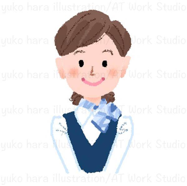 笑顔の制服姿の女性のイラスト