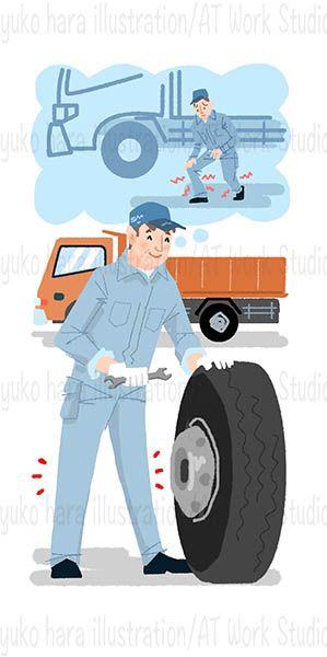 大きなタイヤと自動車整備士のイラスト