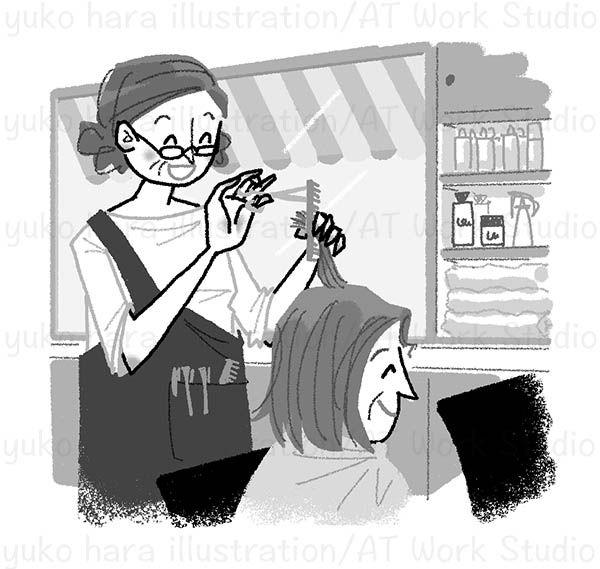 髪をカットする女性美容師と女性客のイラスト